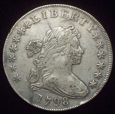 1798 BUST SILVER DOLLAR High VF+ Detailing BB-105 B-23a RARE R.3 Authentic $1