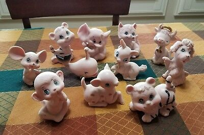 Vintage Lot of 11 Pink  Porcelain Animal Figurines Japan (Kelvins)