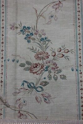 Antique French Block Printed Faded Floral Linen Stripe Fabric c1870~Roses & Bows
