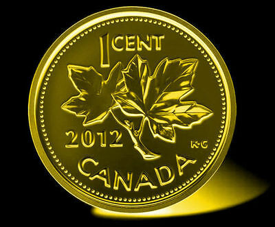 CANADA - 2012 -Rare BRILLIANT UNCIRCULATED PENNY Plated 24k Gold non magnetic