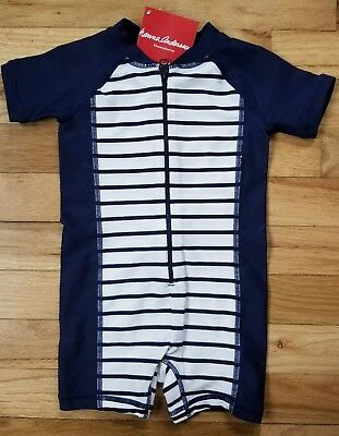 NWT Hanna Andersson Boys 1 pc Swimmy Rash Guard Striped Navy White 80 18-24 m