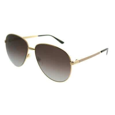 d0f4b49ecdc06 Gucci GG0138S 005 Gold Metal Aviator Sunglasses Brown Gradient Polarized  Lens