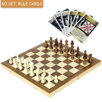 1* Wooden International Chess Foldable Set With Folding Board & Action Cards AU