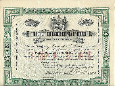 Perfect Combustion Co of America Stock Certificate
