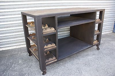 New Industrial Kitchen Island Bench Table Top Wine Rack