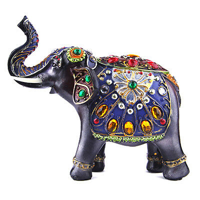 "7"" Feng Shui Elegant Elephant Trunk Statue Diamond Lucky Wealth Figurine Decor"