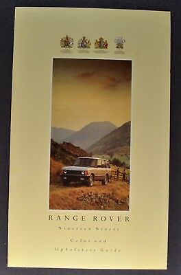 1990 Range Rover Paint Chip Colors Sales Brochure Folder Nice Original 90