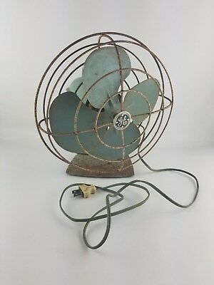 1950s Vintage Green General Electric GE Oscillating Desk Fan Works