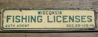 Vintage Wisconsin Fishing License Metal Tin 2 Sided Sign Original Old RARE Cabin