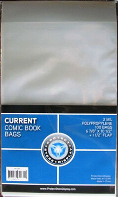(100) Csp Current Modern Age Comic Book Clear 2 Mil Poly Storage Bag Holders