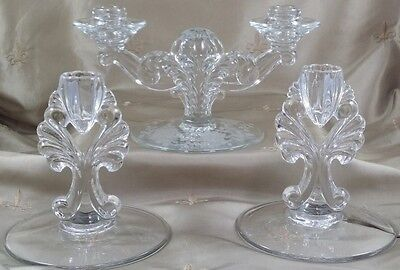 VINTAGE ELEGANT GLASS Cascading Candelabras & Candle Holders LOT of THREE