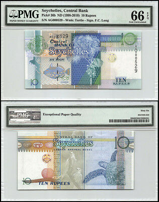 Seychelles 10 Rupees, ND 1998-2010, P-36b, Turtle, Low Serial # AG000529, PMG 66