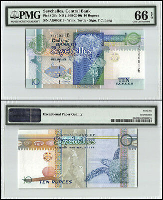 Seychelles 10 Rupees, ND 1998-2010, P-36b, Turtle, Low Serial # AG000516, PMG 66