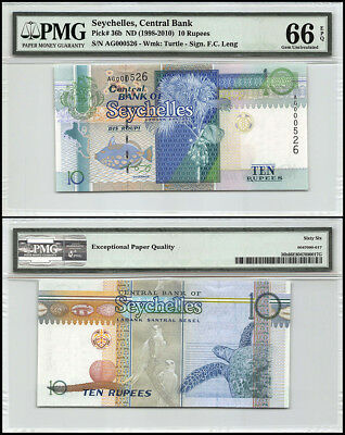 Seychelles 10 Rupees, ND 1998-2010, P-36b, Turtle, Low Serial # AG000526, PMG 66