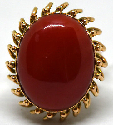 Antique Victorian 18K Solid Gold and Large Undyed Dark Red Coral Ring Size 6.5