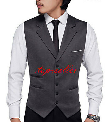 Mens Wedding Sleeveless Suits Lapel Formal Fashion Dress Slim Fit Waistcoat Vest