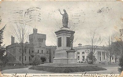 Postcard MA Fitchburg Armory Soldiers Monument Post Office 1906 Massachusetts PC