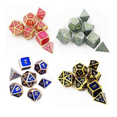 7Pcs Antique Metal Polyhedral Dice DND RPG MTG Role Playing Game With Bag U Q1S0