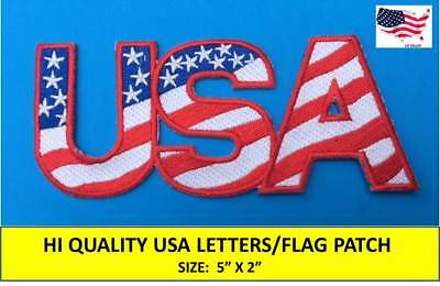 "USA LETTERS AMERICAN FLAG EMBROIDERED PATCH IRON / SEW-ON (5""x 2"")- HIGH QUALITY"