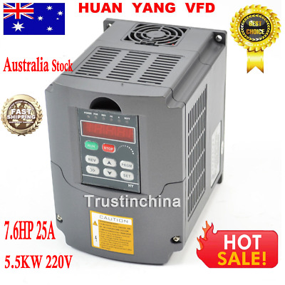 220V 5,5KW 7,6HP Frequenzumrichter Variable Frequency Drive 25A Inverter VFD AU