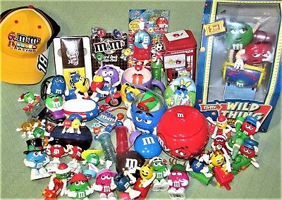 56 M&M Collectible Items Ceramic Candy Dishes Dispensers Vtg Magnets TRAIN Toys