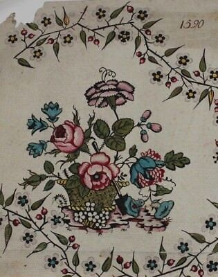 Antique 1700s French HandPainted Water Color Fabric/Textile Design~Roses&Baskets