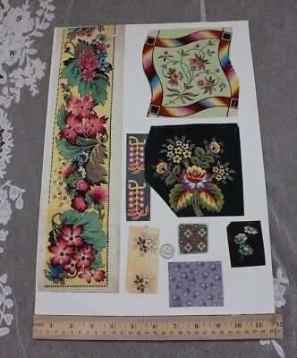 8 French Antique Hand Painted Gouache Provencal Floral Fabric Designs On Paper