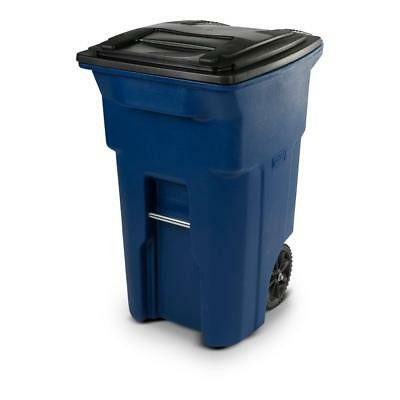 Toter Blue and Black 64 Gal Wheeled Polyethylene Trash Can Reinforced Rim Basket