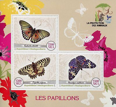 Madagascar 2017 MNH Butterflies 3v M/S Papillons Insects Butterfly Stamps