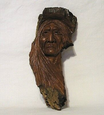 "Awesome Hand Carved Native American ""Tree Spirit"" Artist Signed Cottonwood Bark"