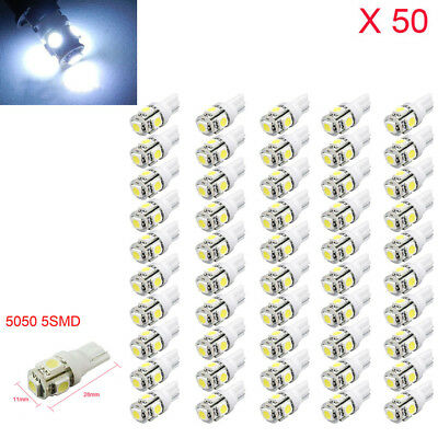 50x T10 5050 5SMD 194 168 LED White Car Side Wedge Tail Light Lamp Bulbs Bright