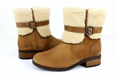Ugg Blayre Ii Suede Sheepskin Chestnut Ankle Mid Zip Boots Size 8 Us