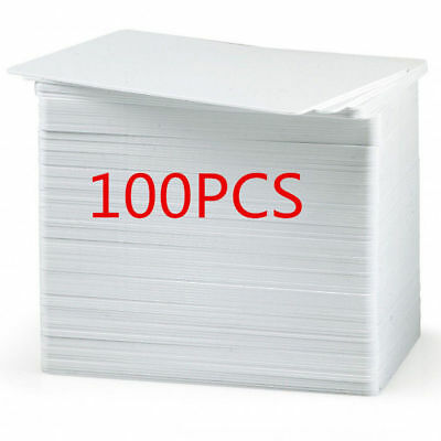 100x Blank White PVC CR80 Plastic Photo ID Credit Card 30Mil for Card Printer WH