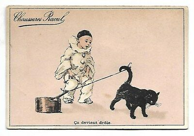 Ca devient drôle - Pierrot Chat Casserole - Chromo Chaussures Raoul - Trade card