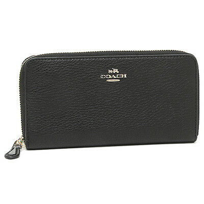 Coach  F57215 F16612 Pebbled Leather Accordion Zip Wallet