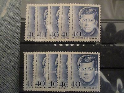 GERMANY 1964 JOHN F KENNEDY MEMORIAL MNH 10x STAMPS mint never hinged
