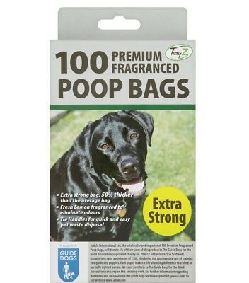 Pack of 100 Premium Lemon Fragranced Extra Strong Dog Poop Bags with Tie Handles