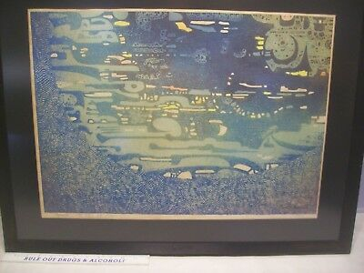 1965 space original 24 out of a 100 signed art framed with glass  japan art deco
