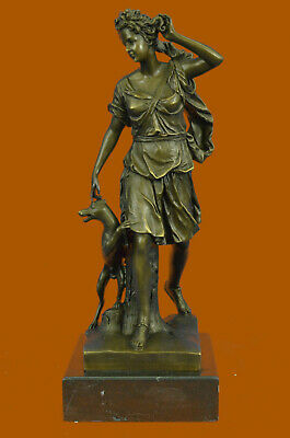 Antoine Coysevox Diana the huntress W/ Her Faithful Dog Bronze Sculpture Statue