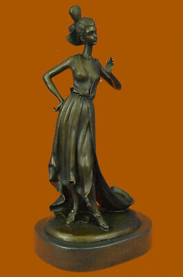 Real Bronze Metal Stone Statue Classical Victorian Woman Lady Flowers Sculpture