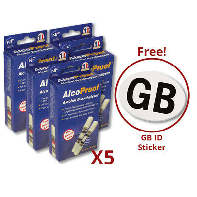 5x AlcoProof Alcohol Breathalyser Tester with GB Sticker Car Travel Bundle