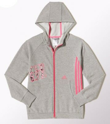 Adidas Girls LG RI Full Zip Hoodie Junior Youth Hooded Top - Grey / Pink M66845