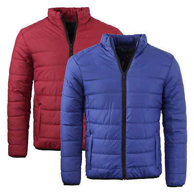 Mens Brave Soul Bubble Padded Winter Puffer Jacket In Maroon /& Burgundy AW18