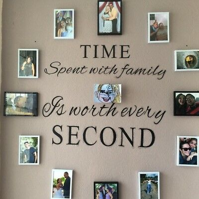 Wall Motto Sticker Time Spent with Family is Worth Every Second Durable Decal