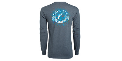 Costa Del Mar Classic Long Sleeve T-shirt- Dark Heather- Pick Size-Free Ship
