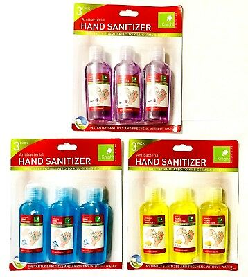 Moisturizing Anti-Bacterial Hand Sanitizer 60Ml 3 Pack Kills Germs No Water