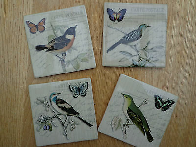 SHABBY VINTAGE CHIC BIRD DESIGN COASTERS DRINKS MATS Ceramic Tile Set of 4