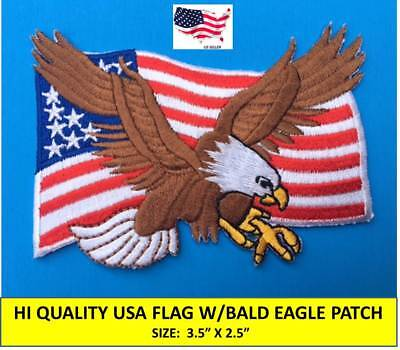 BALD EAGLE ON USA AMERICAN FLAG EMBROIDERED PATCH IRON-ON SEW-ON (3½ x 2½)