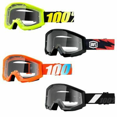 100% Strata MX Anti-Fog Clear Lens Motocross Offroad Goggles