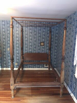 Antique Exquisite Full Size Four Poster Rope Bed  With Canopy